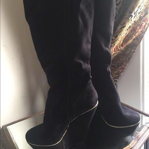 Shoes - Black knee high wedge boots